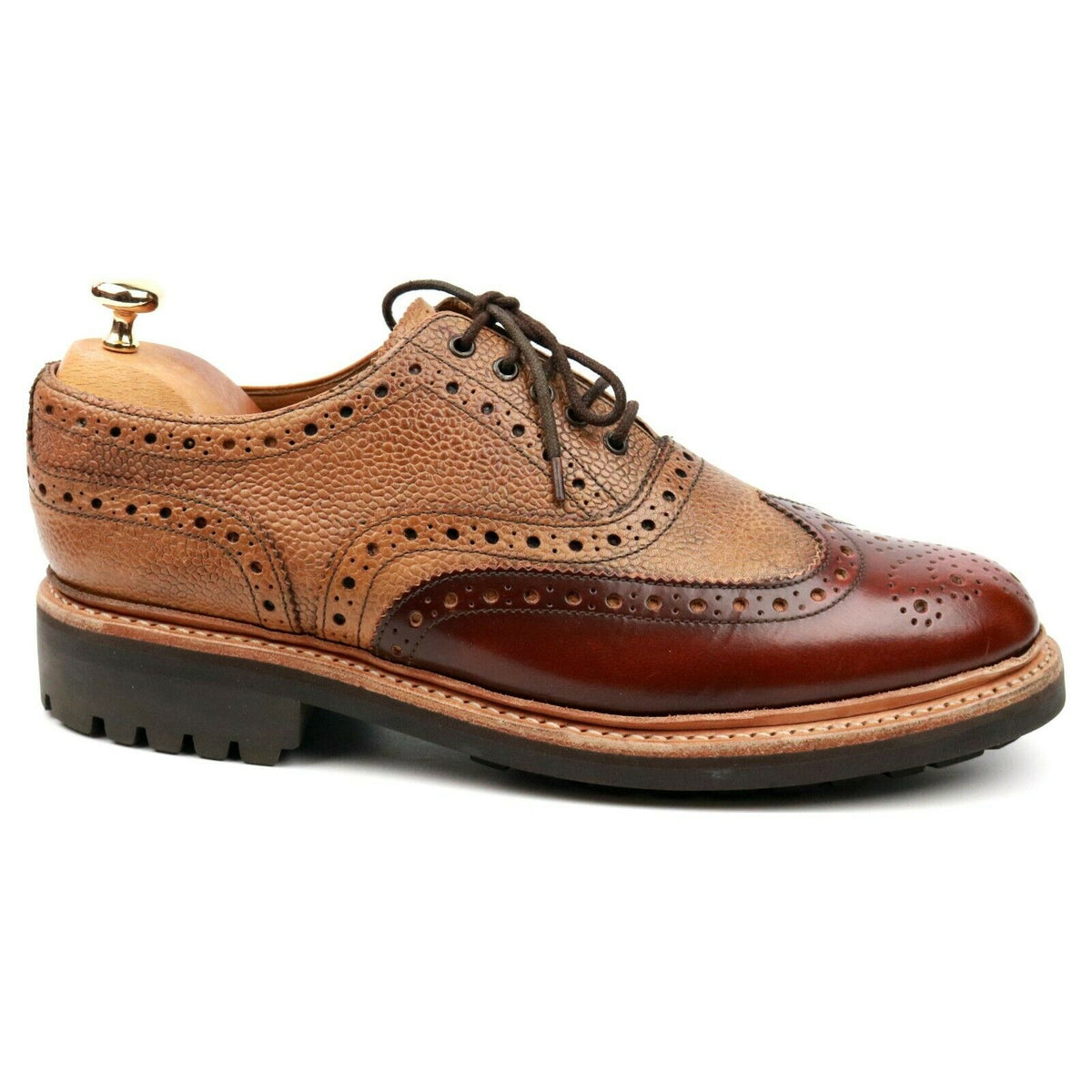 Grenson 'Stanley' Tan/Brown Two Tone Leather Brogues UK 8 G