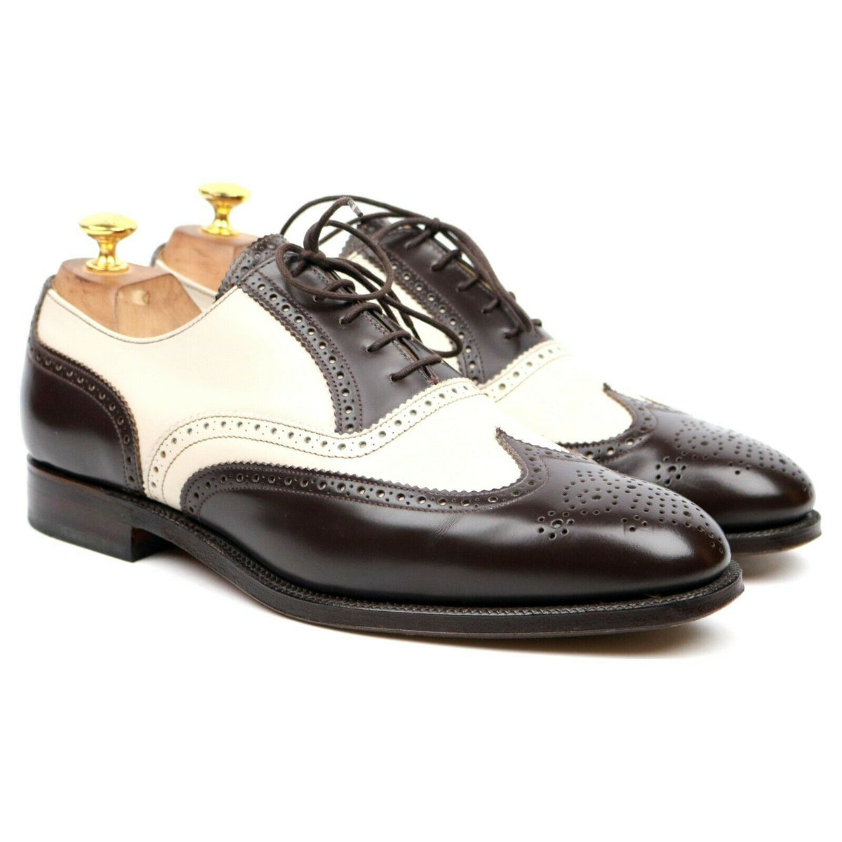 Alfred Sargent 'Melly' Brown Cream Leather Two Tone Spectator Brogues UK 9.5 F