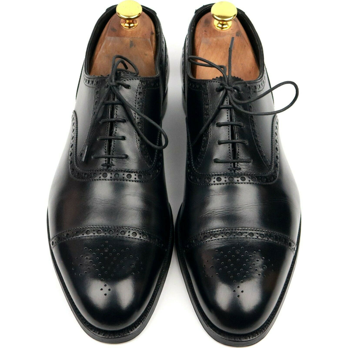 Crockett & Jones 'Barrington II' Black Leather Oxford Semi Brogues UK 8.5 E
