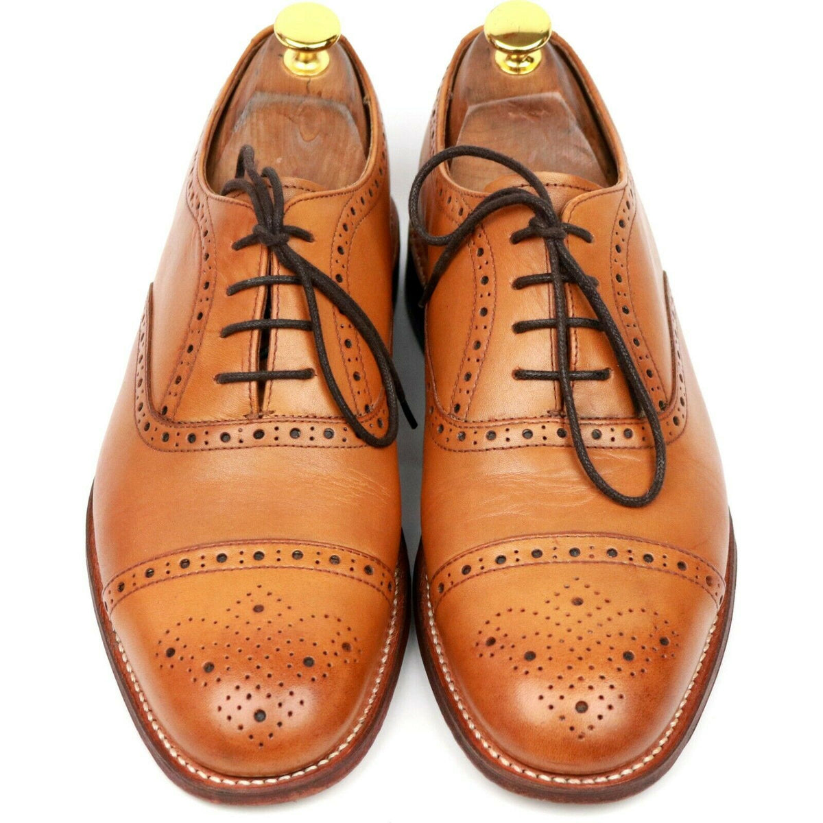 Grenson 'Matthew' Tan Brown Leather Oxford Semi Brogues UK 7 F