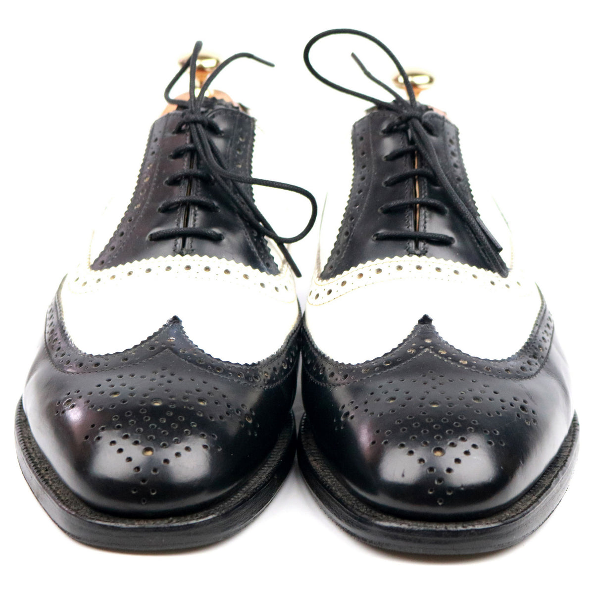 Alfred Sargent 'George' Black White Leather Two Tone Spectator Brogues UK 7.5 F
