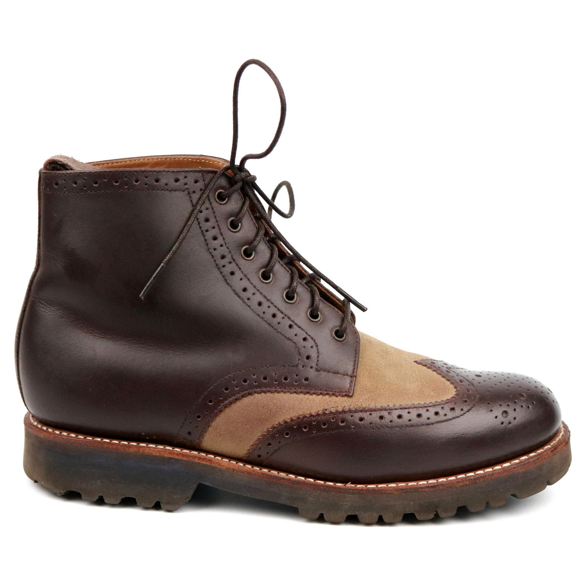 Grenson 'Sharp' Brown Two Tone Leather Brogue Boots UK 6 G
