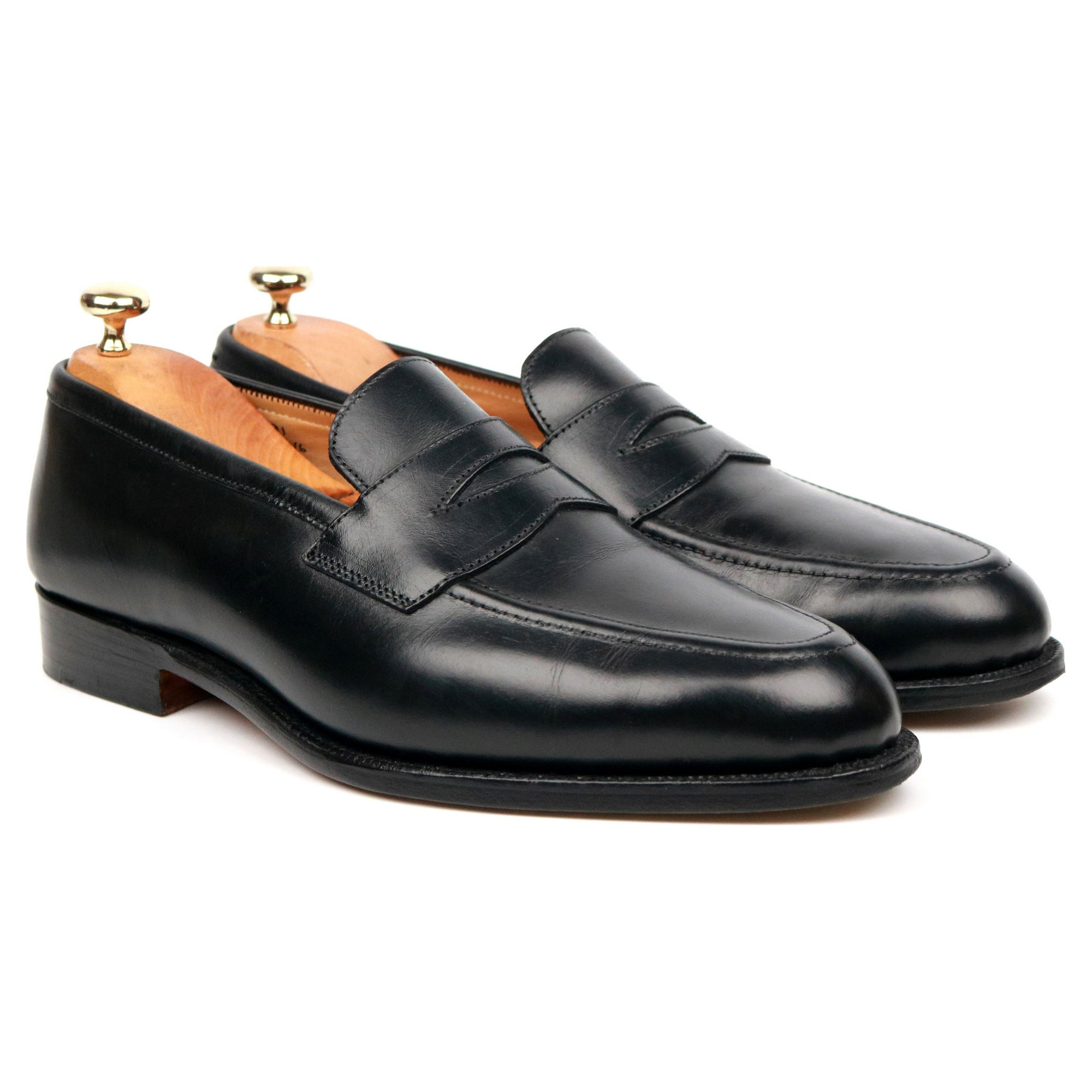 Tricker's 'Harvard' Black Leather Loafers UK 8
