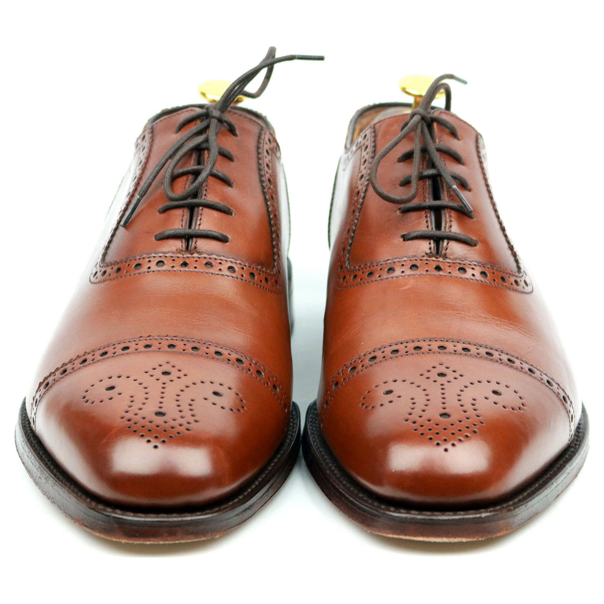 Loake 1880 'Strand' Tan Brown Leather Oxford Semi Brogues UK 8.5 F
