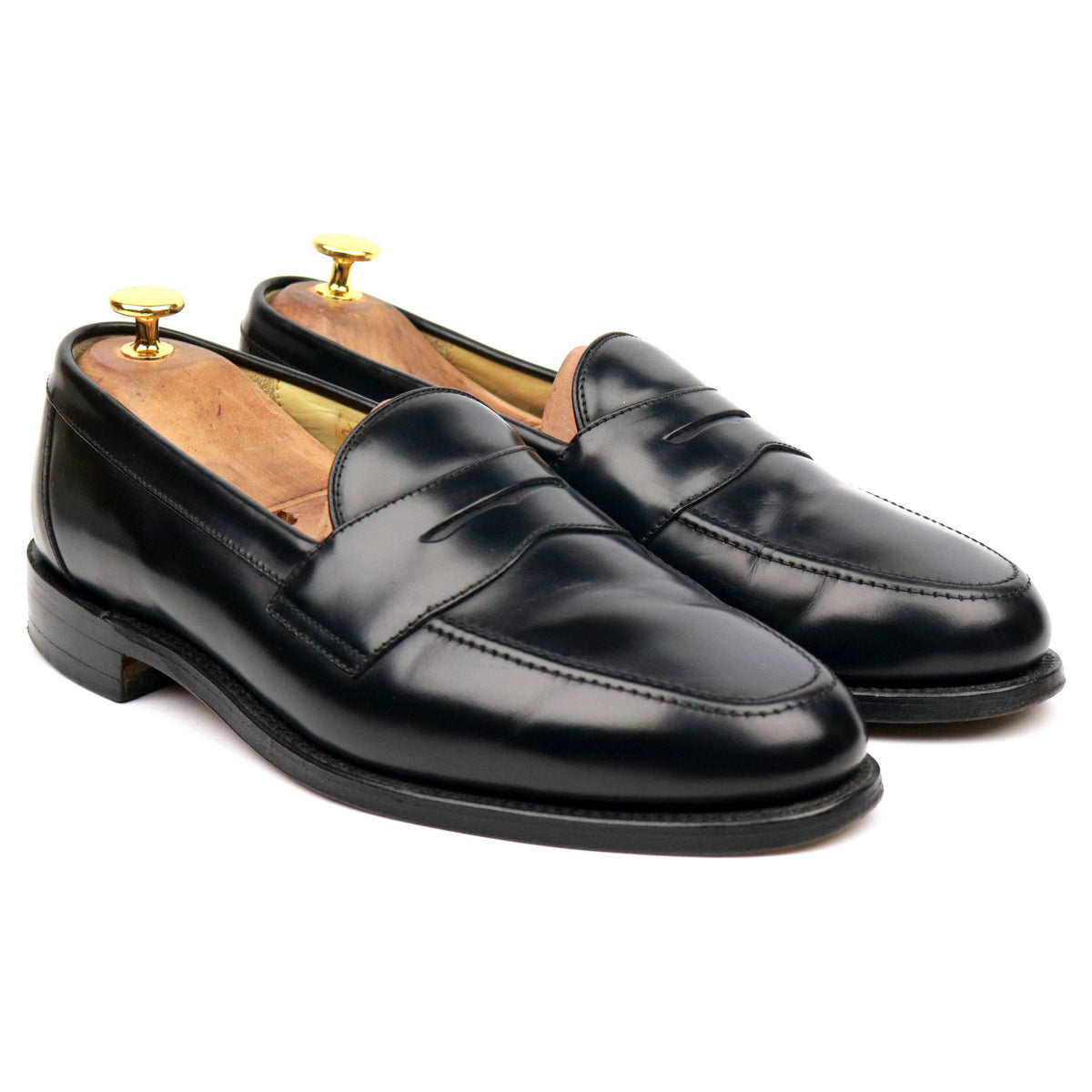 Loake 'Eton' Black Leather Loafers UK 9.5 F