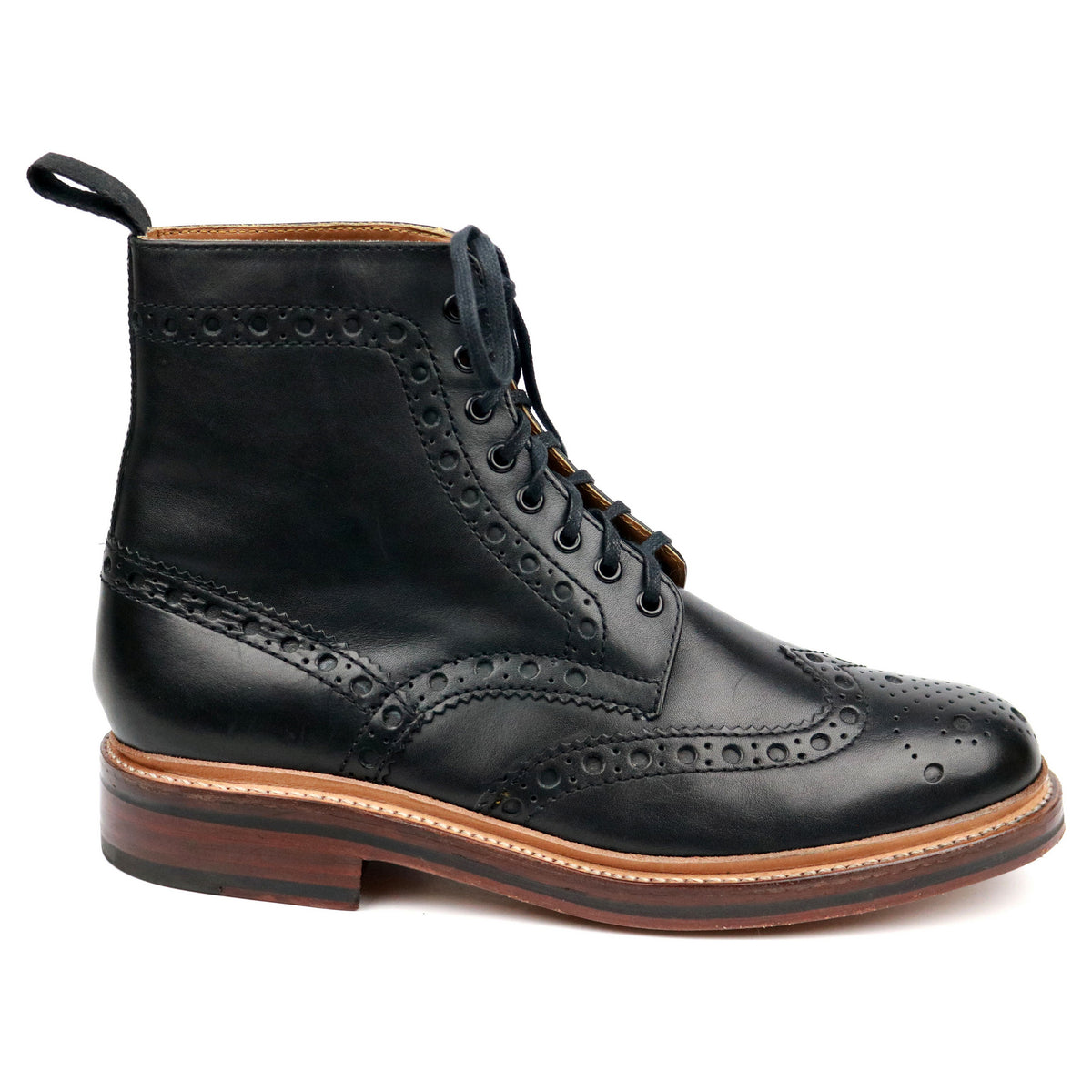 Grenson 'Fred' Black Leather Brogue Boots UK 8 G