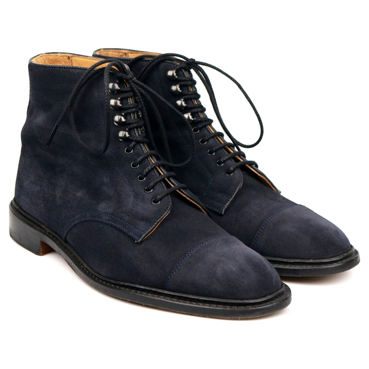 Tricker's 'Scott' Blue Suede Cap Toe Derby Boots UK 9.5