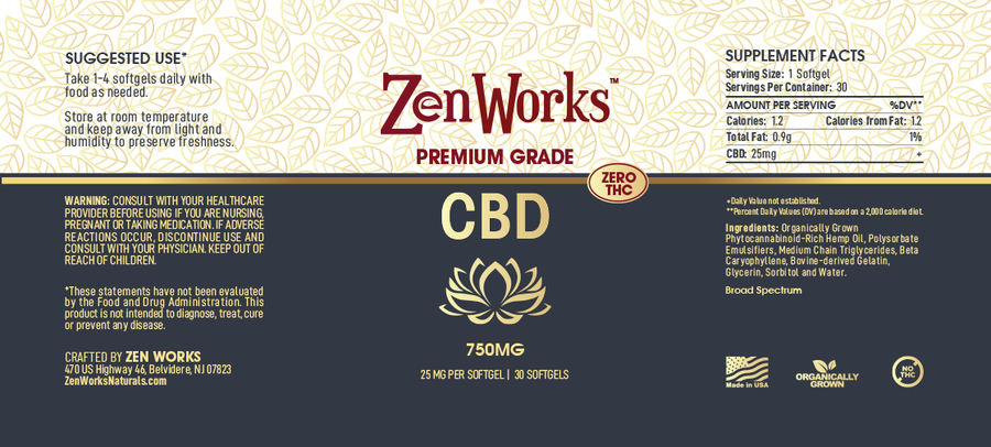 CBD Softgels 25mg per Softgel, 750mg per Bottle