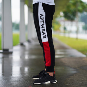 Block Print Joggers (Black & Red)