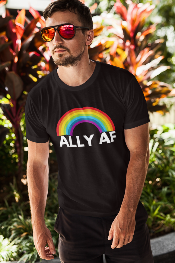 White man wearing sunglasses and a black t-shirt that says ALLY AF