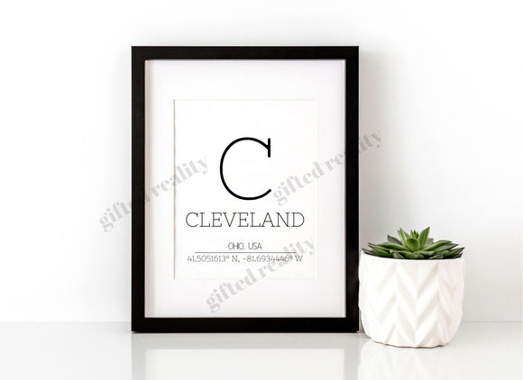 Cleveland, Ohio Wall Art with Coordinates[INSTANT DOWNLOAD]