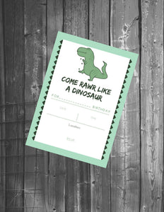 Dinosaur Birthday Invite - Printable/Digital File (5x7 in.)