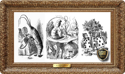Alice in Wonderland Playing Cards Illustrations (1860-1870's) Playmat - Sir John Tenniel Flipside Masterpiece Collection