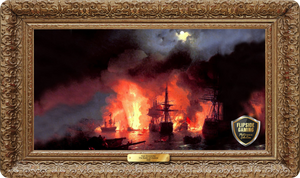 The Battle of Chesma (1848) Playmat - Ivan Aivazovsky Flipside Masterpiece Collection
