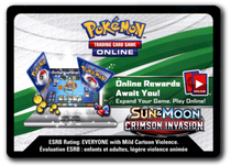 Pokemon TCG Online Sun and Moon Crimson Invasion Booster Pack Code
