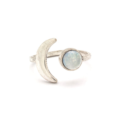 Mini Moon Ring ~ Silver / Quartz Crystal
