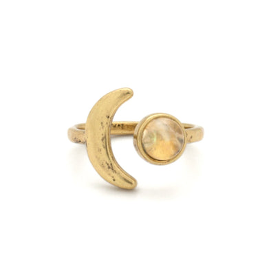 Mini Moon Ring ~ Gold / Citrine