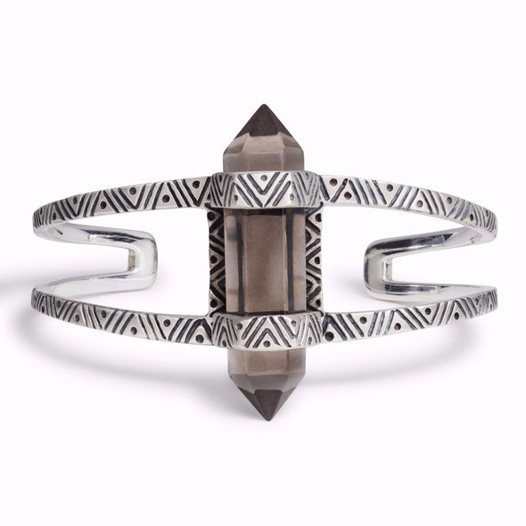 Chevron Crystal Cuff | Silver / Smokey Quartz | TRIBE Jewelry