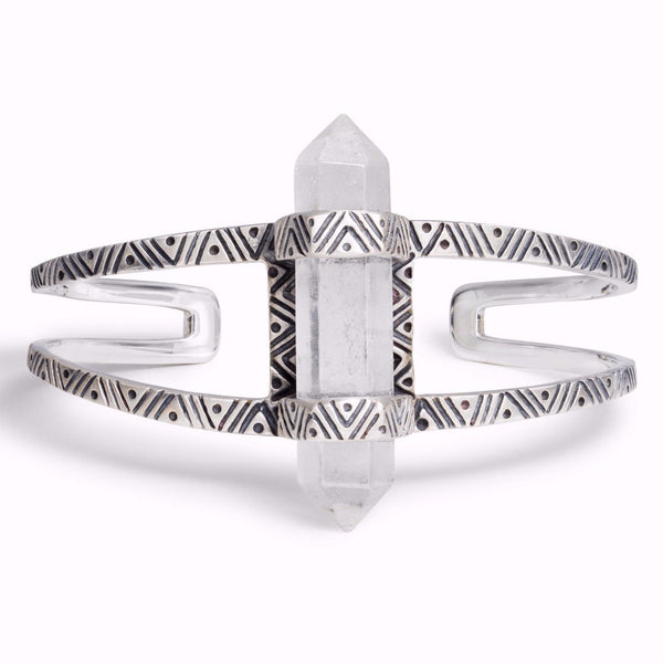 Chevron Crystal Cuff | Silver / Quartz | TRIBE Jewelry