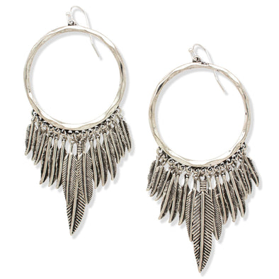 BIRDS OF A FEATHER HOOP EARRINGS | SILVER