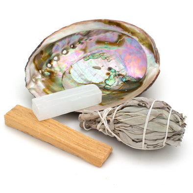 Bliss Kit: Sage, Palo Santo, Selenite Crystal & Abalone Shell