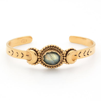 Crescent Moons Bracelet | Gold / Labradorite | TRIBE Jewelry by Sarah Lewis