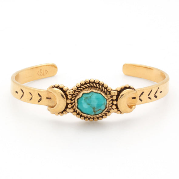 Crescent Moons Bracelet | Gold / Turquoise | TRIBE Jewelry by Sarah Lewis