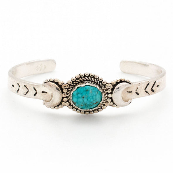 Crescent Moons Bracelet | Silver / Turquoise | TRIBE Jewelry by Sarah Lewis