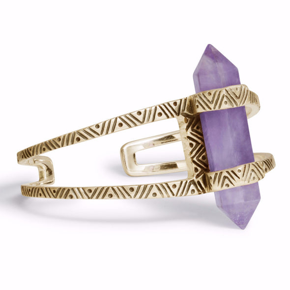 Chevron Crystal Cuff | Gold / Amethyst | TRIBE Jewelry