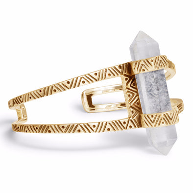 Chevron Crystal Cuff | Gold / Quartz | TRIBE Jewelry