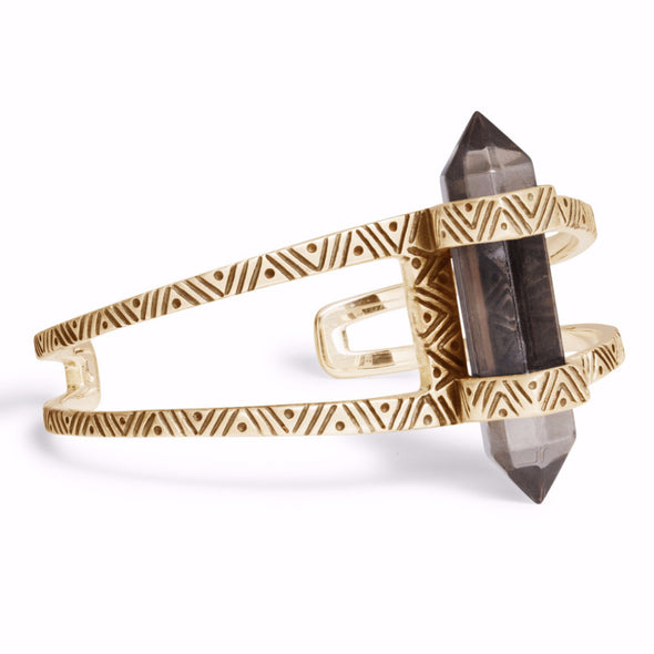 Chevron Crystal Cuff | Gold / Smokey Quartz | TRIBE Jewelry