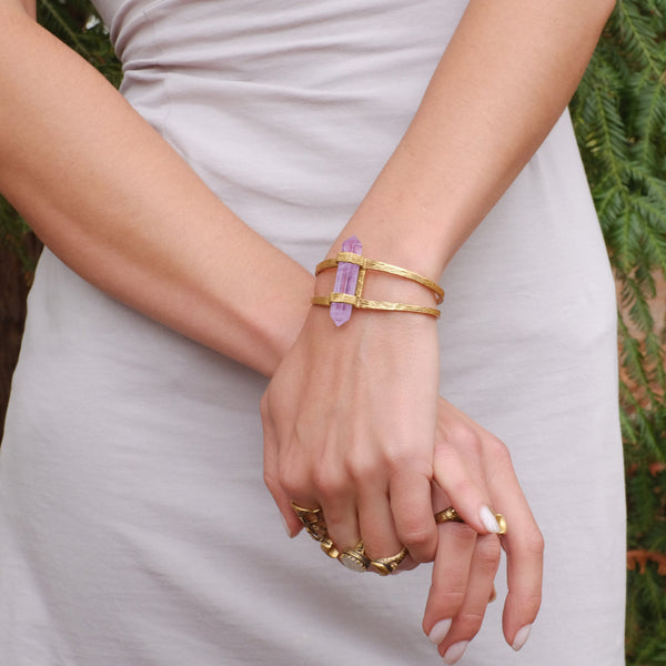 Forest Crystal Cuff | Gold / Amethyst | TRIBE Jewelry