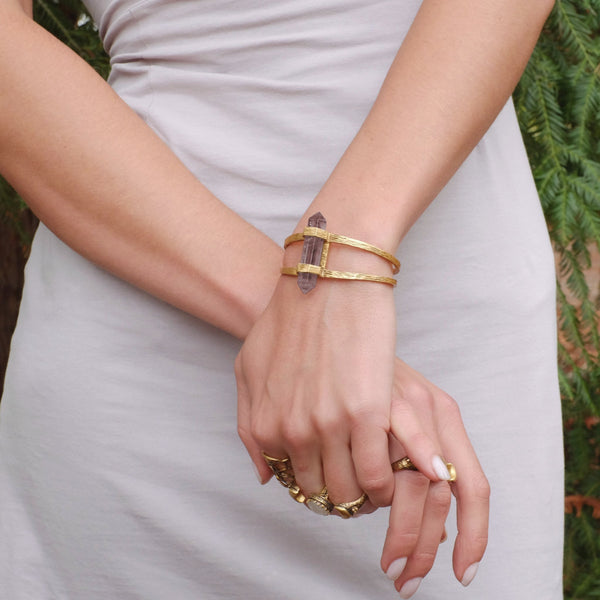 Forest Crystal Cuff | Gold / Smokey Quartz | TRIBE Jewelry