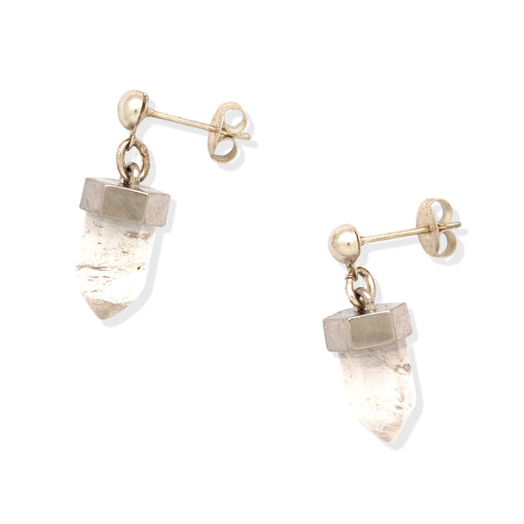 CRYSTAL POST EARRINGS | SILVER