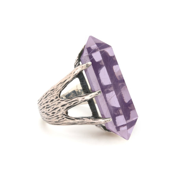 Crystal Talon Ring | Silver / Amethyst