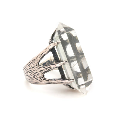 A Bohemian style statement ring featuring a Quartz Crystal set in oxidized Sterling Silver, by Tribe Jewelry Designer Sarah Lewis.