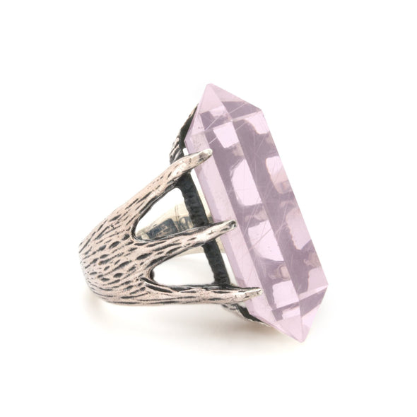 Crystal Talon Ring | Silver / Rose Quartz