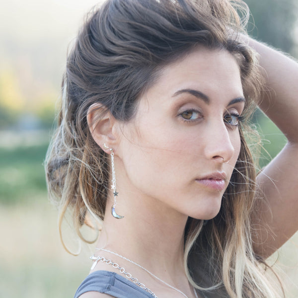 Shooting Stars Earrings | Silver / Labradorite | TRIBE Jewelry by Sarah Lewis