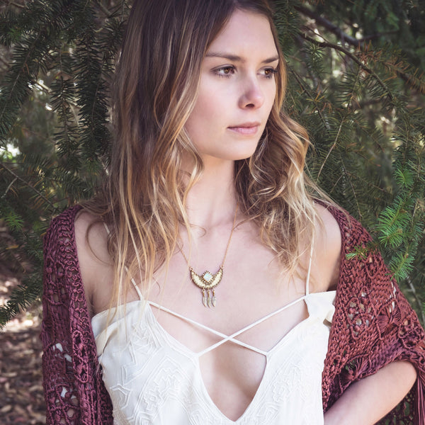 Divided Sky Necklace | Gold / Moonstone | TRIBE Jewelry
