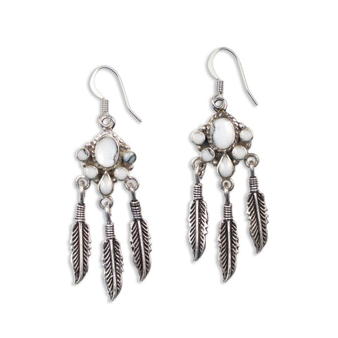 Feather Fringe Earrings | Silver / White Howlite | TRIBE Jewelry