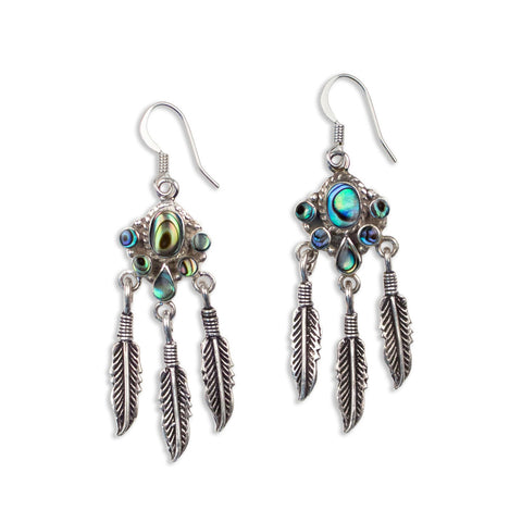 Feather Fringe Earrings | Silver / Mother of Pearl | TRIBE Jewelry