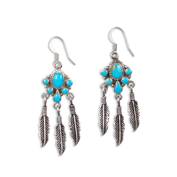 Feather Fringe Earring | Silver / Turquoise | TRIBE Jewelry