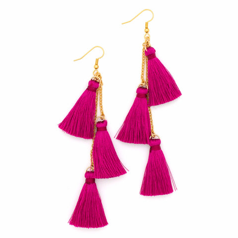 Fiesta Tassel Earring | Gold / Magenta | TRIBE Jewelry by Sarah Lewis