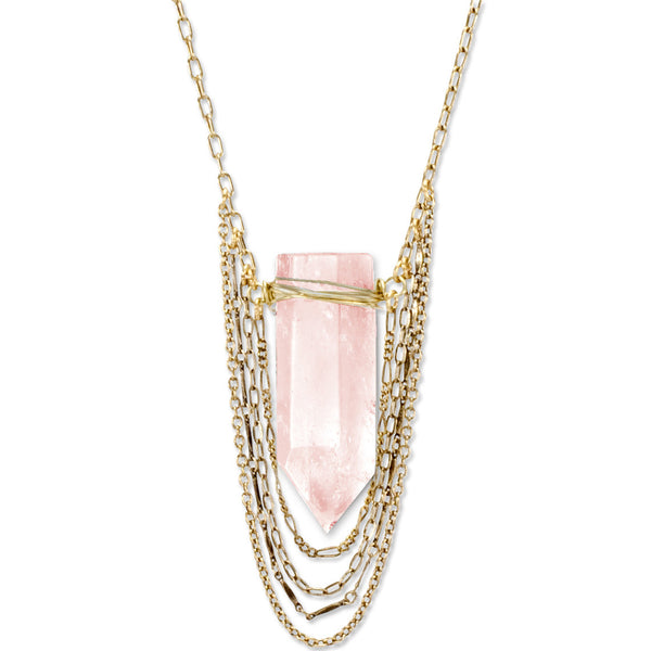 Rose Quartz Gaia Crystal Necklace | Gold