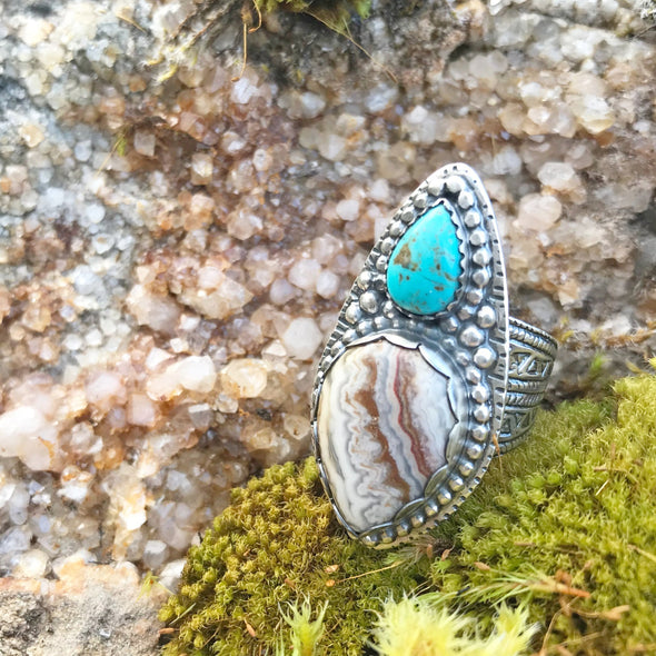 Turquoise & Agate Teardrops Ring