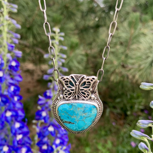 Turquoise Butterfly Necklace ~ 4