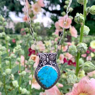 Turquoise Butterfly Necklace ~ 2
