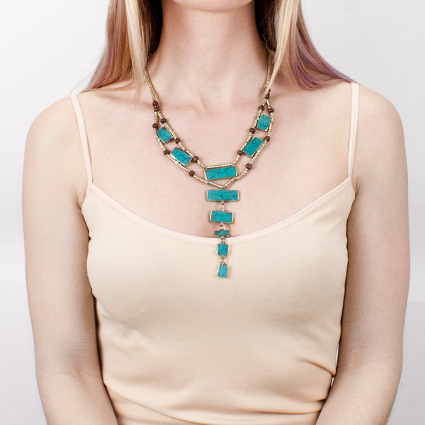 LADDAR NECKLACE | TURQUOISE | GATHERED COLLECTION | TRIBE JEWELRY
