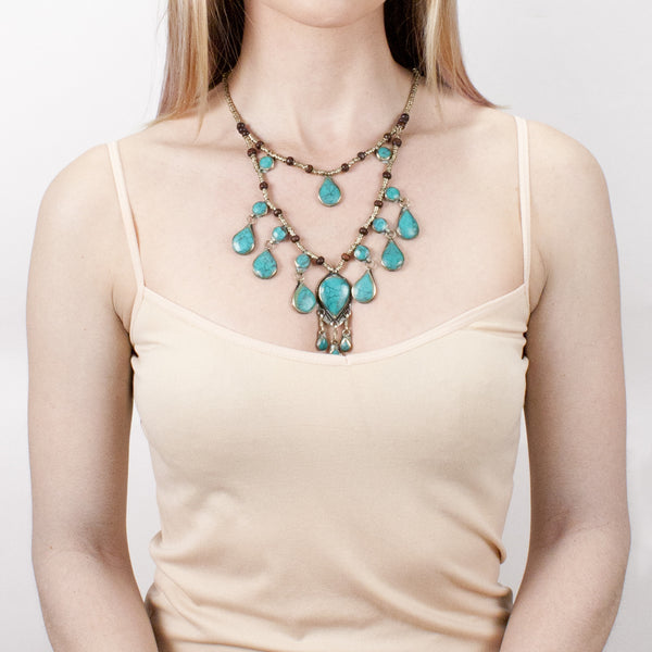 Laila Collar Necklace | Turquoise | Tribe Gathered Collection | Afghanistan | Gypsy Jewelry