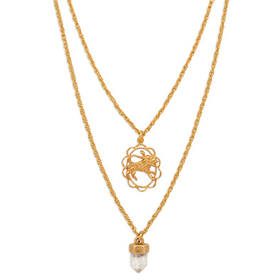 ZODIAC CRYSTAL CHARM NECKLACE | LEO